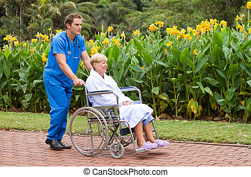 senior patient on wheelchair