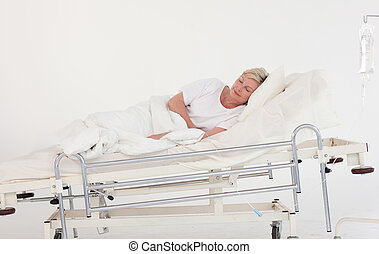 Senior Patient Recovering in a hospital ward