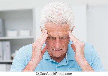 Senior patient suffering - Senior male patient suffering...