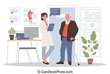 Senior patient visiting doctor office
