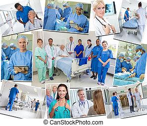 senior, patienter, doktorer, og, sygeplejersker, ind, hospitalet
