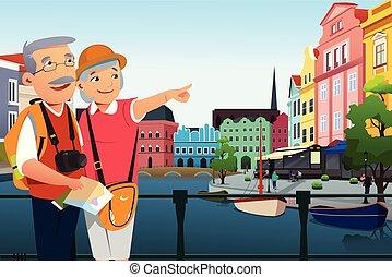 senior, pensioen, paar, na, het reizen