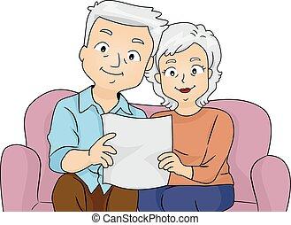 senior, pensioen, paar, plan
