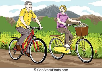 Senior people biking - A vector illustration of happy senior...