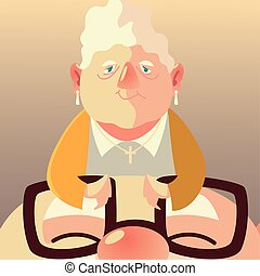 senior people, cute elderly woman with face old man with glasses cartoon