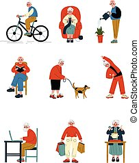 Senior People Daily Activity Set, Elderly Men and Women Walking, Reading, Cooking, Shopping, Doing Sports Vector Illustration