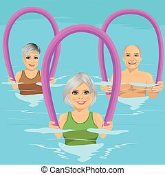 Senior people in fitness class doing aqua aerobics with foam...