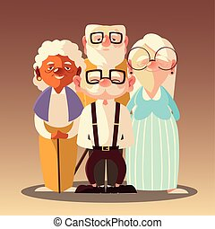 senior people, old men and woman with glasses and walk stick cartoon