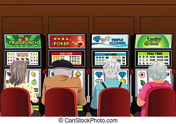 Senior people playing slot machines in the casino