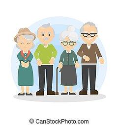 Senior people set.