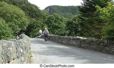 Senior people walking on old bridge