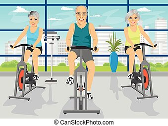 Senior people working out at fitness center on exercise bikes