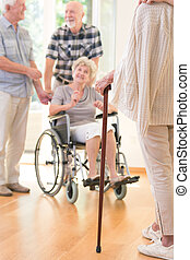 Senior person with walking stick