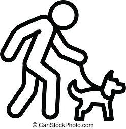senior, pieszy pies, człowiek, styl, szkic, ikona