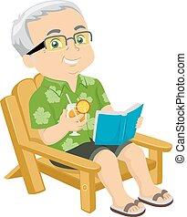 senior, plażowe krzesło, człowiek
