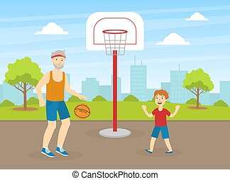 Senior Playing Basketball with His Grandson, Elderly People Active Healthy Lifestyle Vector Illustration