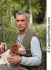 senior, polowanie, człowiek