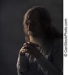 Senior Prayer, Old Man Praying with Folded Hands in Dark,...