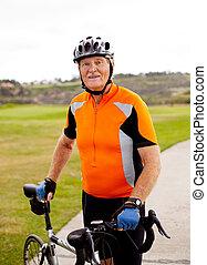 senior professional male cyclist