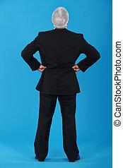 senior, prospekt, wstecz, człowiek, garnitur