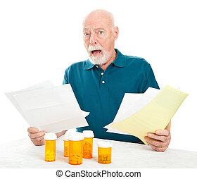 senior, przygniatany, przez, medyczny koszt