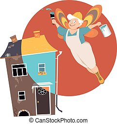 senior remodelling fairy.eps - Mature woman with fairy...