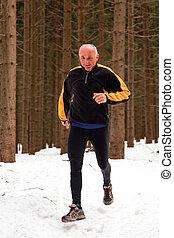 senior running when jogging in the winter