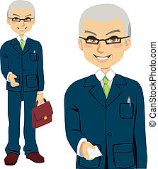 Senior salesman giving business card and offering hand for handshake