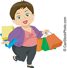 Senior Shopping - Illustration Featuring an Elderly Woman...