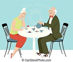 Senior singles on a date