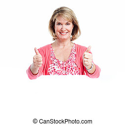 Senior smiling woman with banner. Over white background.