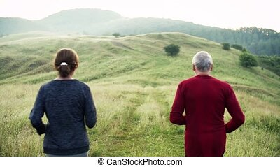 Senior sporty couple running on meadow outdoors in sunny...