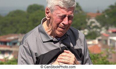 senior, stary, albo, płacz, człowiek
