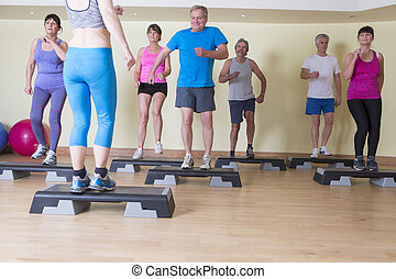 Senior steps class - Group of seniors in a steps class at ...