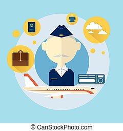 Senior Steward Airport Crew Icon Flat Vector Illustration