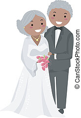 senior, stickman, paar, trouwfeest