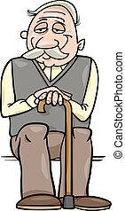 senior, stok, spotprent, illustratie
