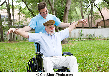 Senior Stretching Exercises - Disabled senior man does...
