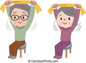 Senior stretching with towel - Vector illustration.Original...