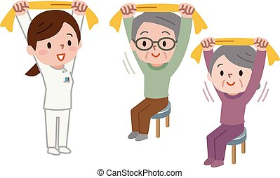 Senior stretching with towel - Vector illustration.Original...