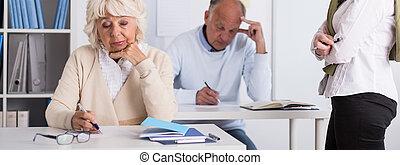 Senior students writing exam