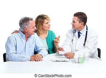 senior, tålmodig, par., läkare