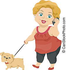 Senior Taking Her Dog for a Walk