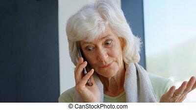 senior, telefoon, beweeglijk, klesten, 4k, vrouw