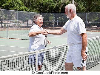 Senior Tennis Players Handshake