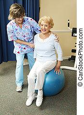 senior, therapist, lichamelijk, werken