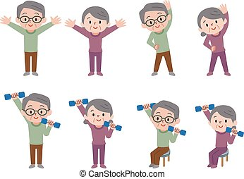 Senior to do dumbbell exercises - Vector illustration. ...