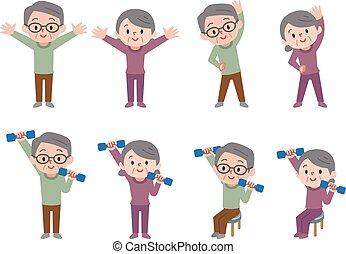 Senior to do dumbbell exercises