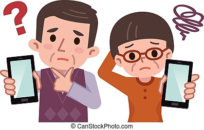 Senior to worry and smartphone - Vector illustration.