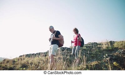 Senior tourist couple with backpacks hiking downhill in nature.